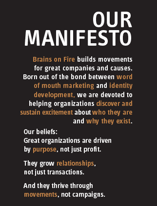 brains on fire brand manifesto