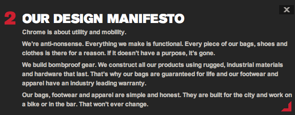 chrome bag company design manifesto