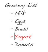 Von Restorff Effect, Grocery List